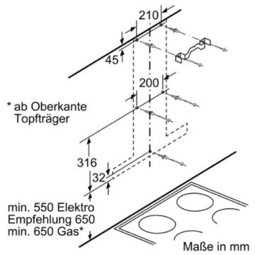Bosch DWB09W652 Serie 2 Wandhaube / 90 cm / Hohe Lüfterleistung / edelstahl -