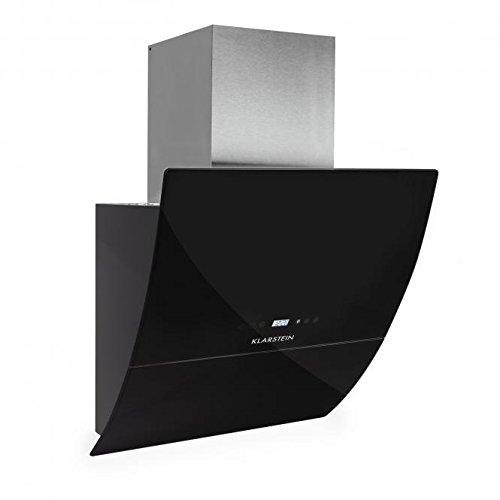 Klarstein RGL60BL Dunstabzugshaube Abzugshaube Wandhaube (kopffrei, 60cm, 600m³/h Abluftleistung, 3 Leistungsstufen, LED, Touch-Armatur, Glas-Front, Fernbedienung) schwarz -